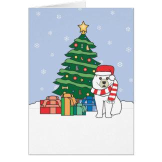 Samoyed and Christmas Tree Card