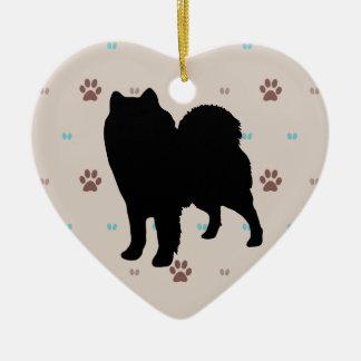 Samoyed Ceramic Heart Decoration