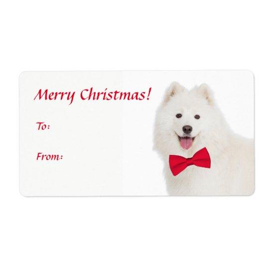 Samoyed Christmas Gift Stickers Shipping Label