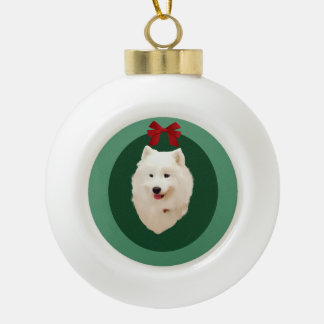 Samoyed Christmas Holiday  Ornament;Unsigned Ceramic Ball Christmas Ornament