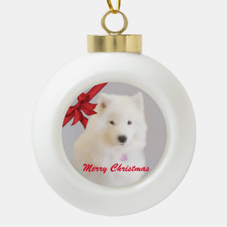Samoyed Christmas Ornament; Ceramic Ball Ceramic Ball Christmas Ornament