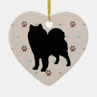 Samoyed Double-Sided Heart Ceramic Christmas Ornament
