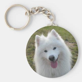 Samoyed dog beautiful photo keyring keychain
