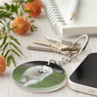 Samoyed dog beautiful photo running gift acrylic key chain