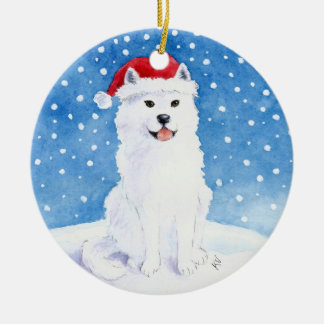 Samoyed Dog in Santa Claus hat Christmas ornament