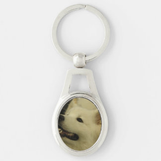 Samoyed Dog Silver-Colored Oval Key Ring