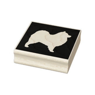 Samoyed Dog Silhouette Rubber Stamp