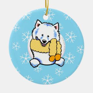 Samoyed Eskie Let it Snow Round Ceramic Decoration