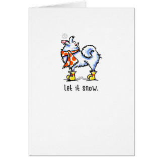 Samoyed Eskie Scarf Let it Snow Christmas Greeting Card