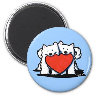 Samoyed Heartfelt Duo Refrigerator Magnets