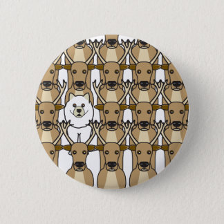 Samoyed in the Reindeer 6 Cm Round Badge
