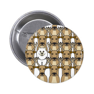 Samoyed in the Reindeer 6 Cm Round Badge
