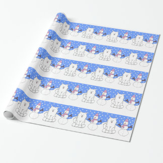 Samoyed N Snowman Wrapping Paper