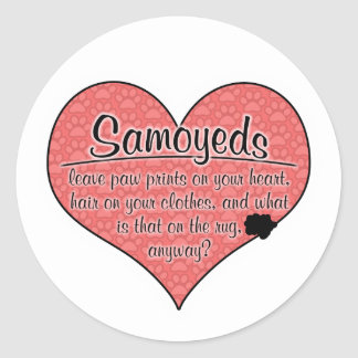 Samoyed Paw Prints Dog Humor Round Stickers