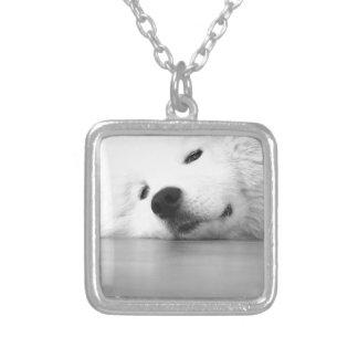 Samoyed Photo Dog White Square Pendant Necklace