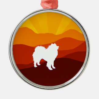 Samoyed Premium Round Ornament; Choice of Shapes Silver-Colored Round Decoration