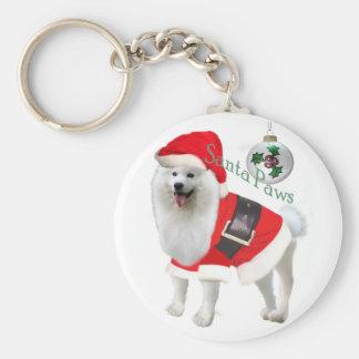 Samoyed Santa Paw Gifts Basic Round Button Key Ring