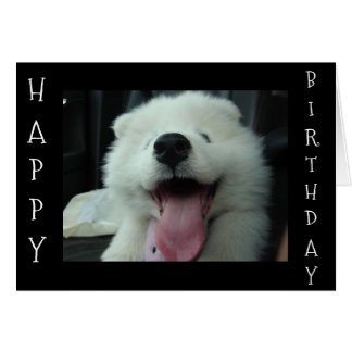 SAMOYED SAYS SAVE ME CAKE/I LOVE U BIRTHDAY WISH CARD