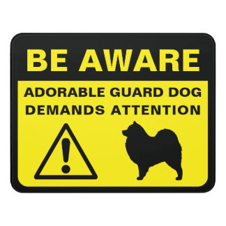 Samoyed Silhouette Funny Guard Dog Sign Door Sign