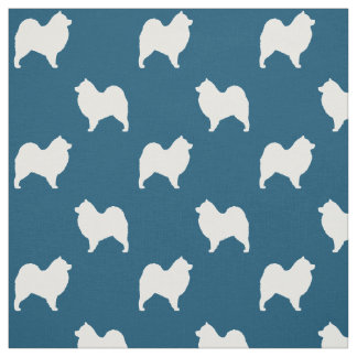 Samoyed Silhouettes Pattern Fabric