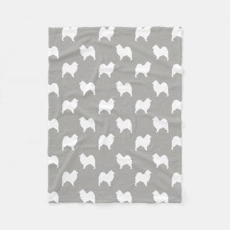 Samoyed Silhouettes Pattern Fleece Blanket