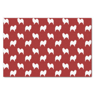 Samoyed Silhouettes Pattern Red Tissue Paper