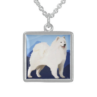 Samoyed Small Sterling Silver Square Necklace
