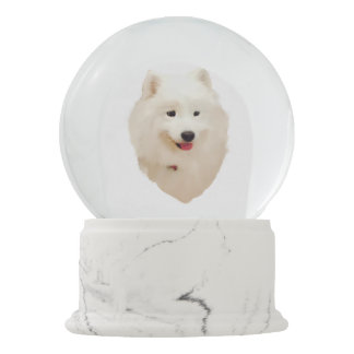 "Samoyed Snow Globe with Red Heart Confetti ""Snow"" Snow Globes"
