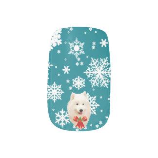 Samoyed, Snowflakes, & Holly Bow Nail Art