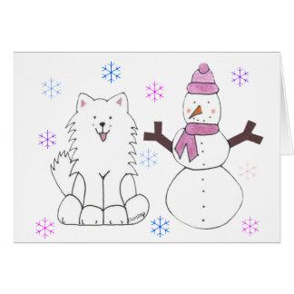 Samoyed & Snowman Card