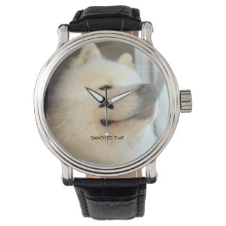 SAMOYED TIME Black Leather Watch