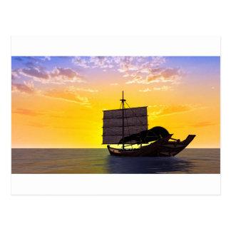 Sampan at Sunrise Postcard
