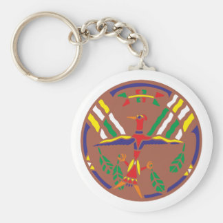 Sample Indian pattern native American Basic Round Button Key Ring