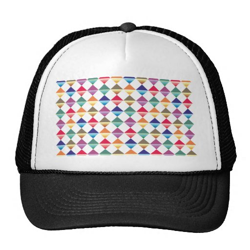 Sample of squares of triangles pattern squares tri mesh hats