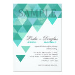SAMPLE signature matte Geometric Triangles teal 13 Cm X 18 Cm Invitation Card