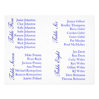 Sample Text for Seating Chart 21.5 Cm X 28 Cm Flyer