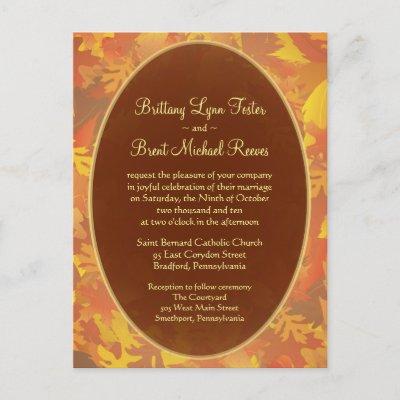 Sample Wedding Invitation Autumn Mist Round Post Card by SquirrelHugger