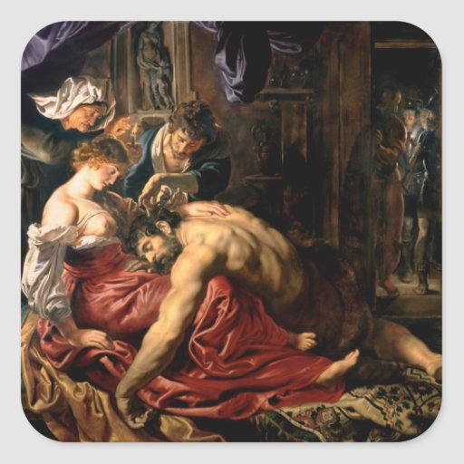 Samson and Delilah, c.1609 Square Stickers