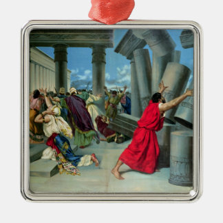 Samson and Delilah Silver-Colored Square Decoration