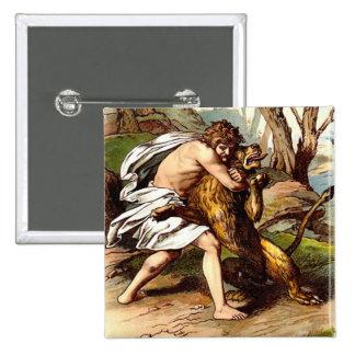 Samson And The Lion 15 Cm Square Badge
