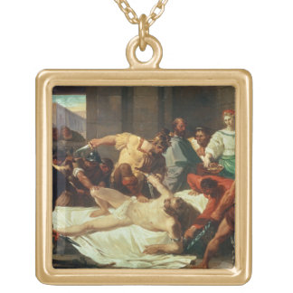 Samson betrayed by Delilah (oil on canvas) Personalized Necklace