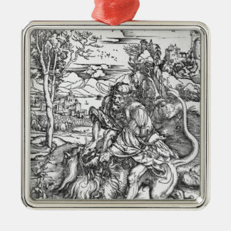 Samson slaying the lion, c.1496-98 christmas ornament