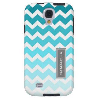 Samsung Blue Ombre Chevron Custom Name Galaxy S4 Case