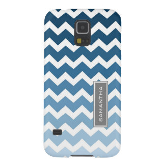 Samsung Blue Ombre Chevron Custom Name Galaxy S5 Covers