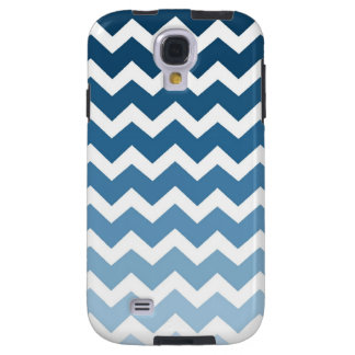 Samsung Blue Ombre Chevrons Pattern Galaxy S4 Case