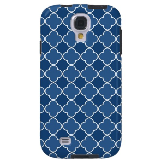 Samsung Blue Quatrefoil Pattern Galaxy S4 Case