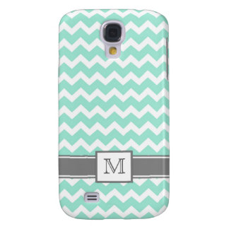 Samsung Custom Monogram Grey Aqua Chevrons Galaxy S4 Case