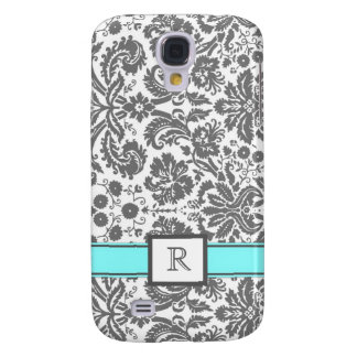 Samsung Custom Monogram Grey Aqua Floral Damask Galaxy S4 Case