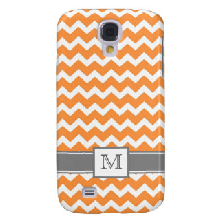Samsung Custom Monogram Grey Orange Chevrons Galaxy S4 Case