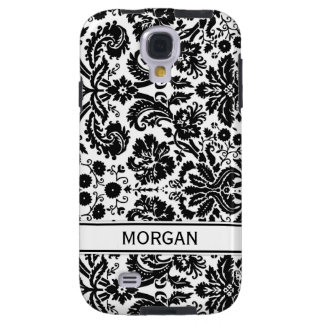 Samsung Custom Name Black Floral Damask Pattern Galaxy S4 Case
